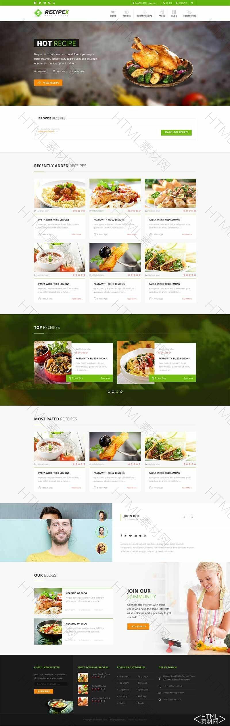 html5绿色的餐饮美食交流平台网站响应式模板.jpg