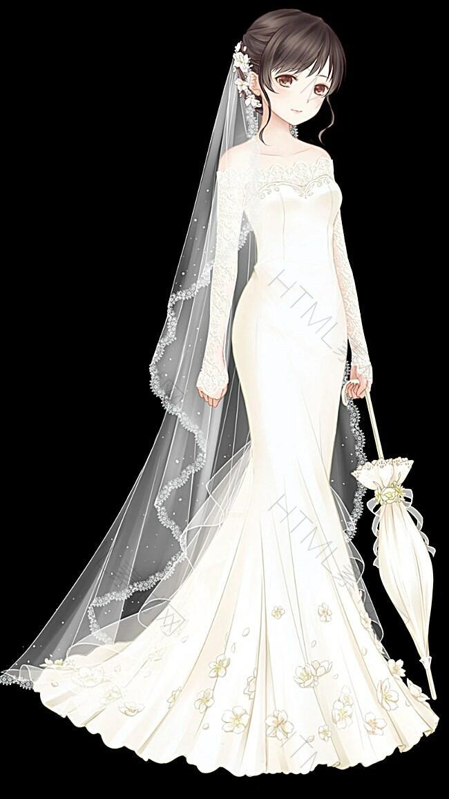 卡通婚纱女孩H5背景