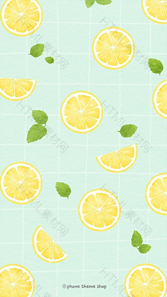 手绘柠檬绿叶H5背景
