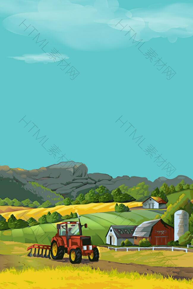 矢量扁平化农场庄园耕种背景