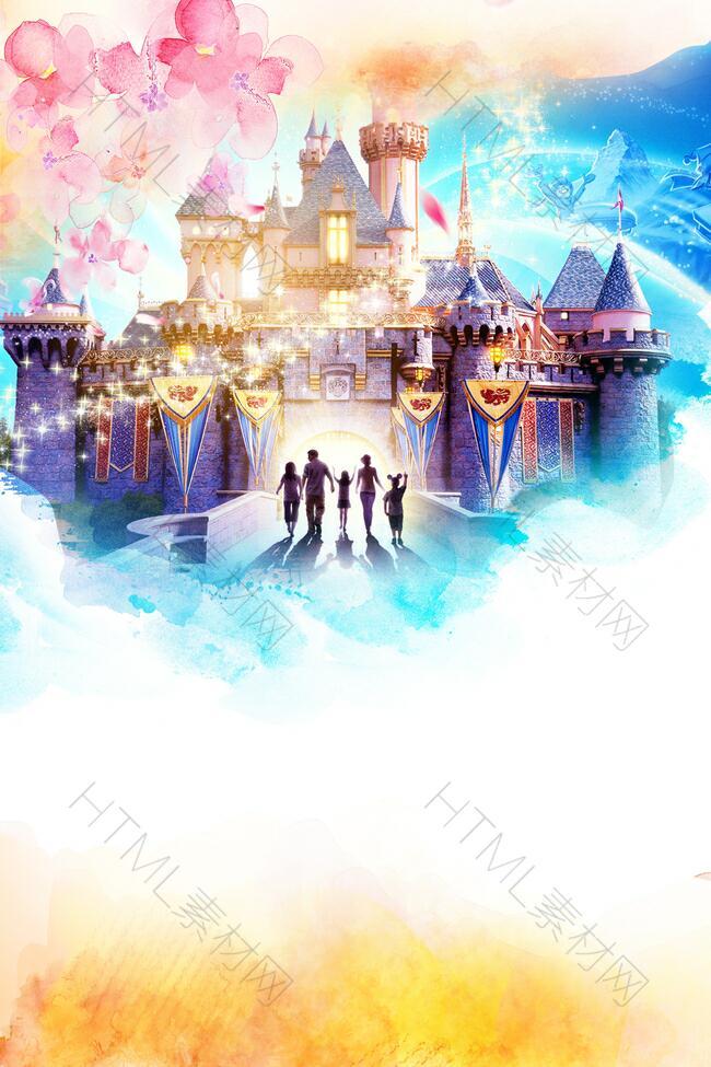 迪士尼旅行主题海报背景