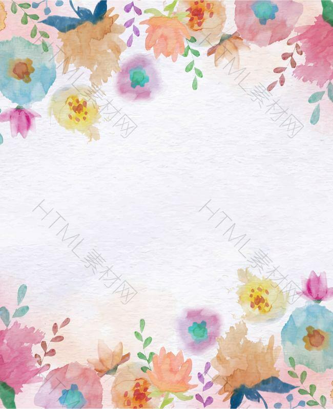 简约彩绘花卉纹理矢量背景