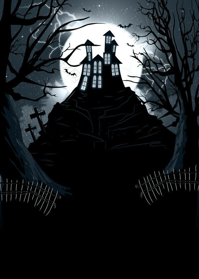 幽深黑暗主题的万圣节兼游乐场鬼屋背景素材