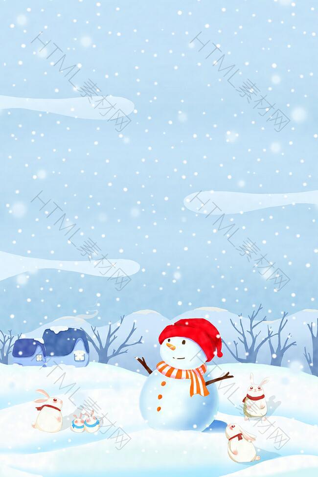 立冬圣诞节雪人卡通童趣蓝色banner