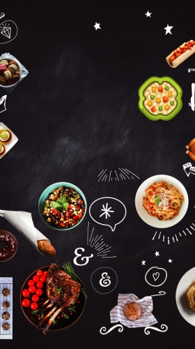 手绘卡通美食狂欢节宣传海报背景