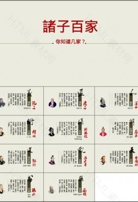 诸子百家人物介绍中国风白色工作总结