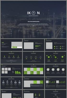 城市夜景封面扁平化蓝灰背景绿色商务PPT
