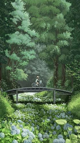 风景森林绿色桥h5背景