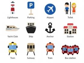 20款旅行与交通工具图标矢量图