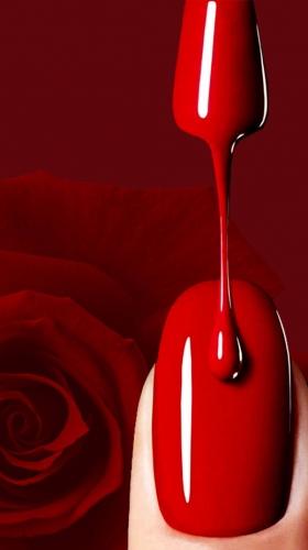 红色时尚简约美甲海报背景