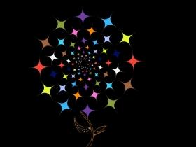 五彩斑斓的星星组成的花朵psd素材